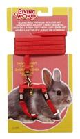Ensemble laisse et harnais réglable Living World pour lapin nain, rouge, laisse de 1,2m (4 pi)