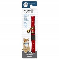 Collier réglable à dégagement rapide Catit en nylon avec œillet, motif nautique, rouge, 20-33 cm (8-13 po)