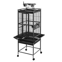 Cage HARI à toit avec aire de jeu pour perroquets, noir et gris argenté antique, L. 46 x l. 46 x H. 142 cm (18 x 18 x 56 po)