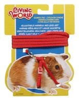 Ensemble laisse et harnais réglable Living World pour cochons d'Inde, rouge, laisse de 1,2m (4pi)
