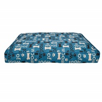 Matelas-lit Oxford DreamWell Dogit, rectangle, motif Woof, bleu, 73 x 51 x 7,6 cm (29 x 20 x 3 po)