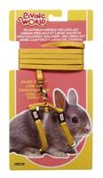 Ensemble laisse et harnais réglable Living World pour lapin nain, jaune, laisse de 1,2m (4pi)