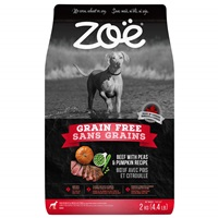 Aliment Zoë Sans grains pour chiens, Bœuf avec pois et citrouille, 2 kg (4,4 lbs)