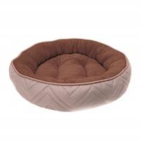 Lit douillet piqué DreamWell Dogit, rond, beige et brun, diam. 56cm (22 po)