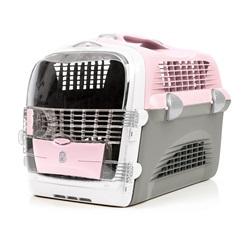 Cage de transport multifonctionnelle Cabrio Catit Design, rose et gris, L. 51 x l. 33 x H. 35 cm (20 x 13 x 13,75 po)