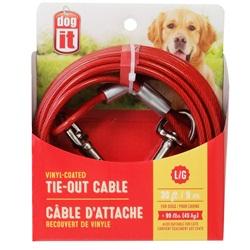 Câble d'attache Dogit pour chiens de grande taille, rouge, 9 m (30 pi)