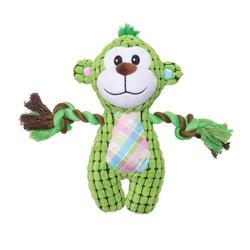 Jouet Stuffies Dogit, singe vert en peluche et en velours côtelé quadrillé, avec corde, 23 cm (9 po)