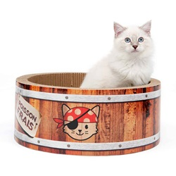 Griffoir Pirates Catit Play en forme de baril, avec herbe à chat, grand, 42 cm (16,5 po)