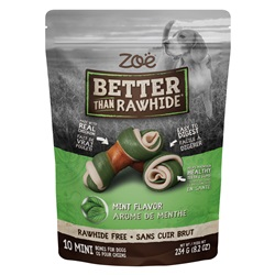 Os Better than Rawhide Zoë, mini, menthe, 234 g (8,2 oz), paquet de 10