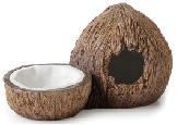 Cachette avec bol à eau Exo Terra, en forme de noix de coco